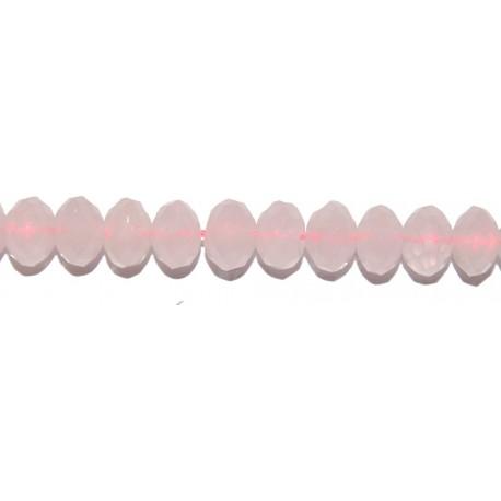 Cuarzo rosa rondel facetado (Tipo 2) 5*8 mm.