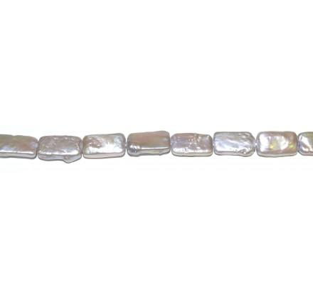 Perla Plateada rectángulo 8*16 mm.