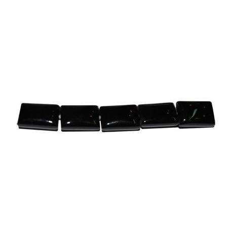 Ágata negra rectángulo cojín 10*14 mm.