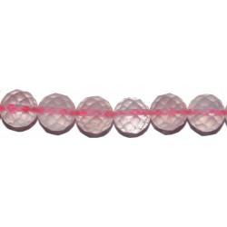 Cuarzo rosa bola facetada 6 mm.