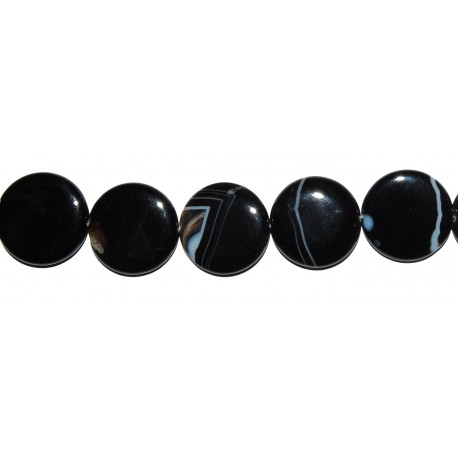 Ágata negra veteada disco 25 mm.